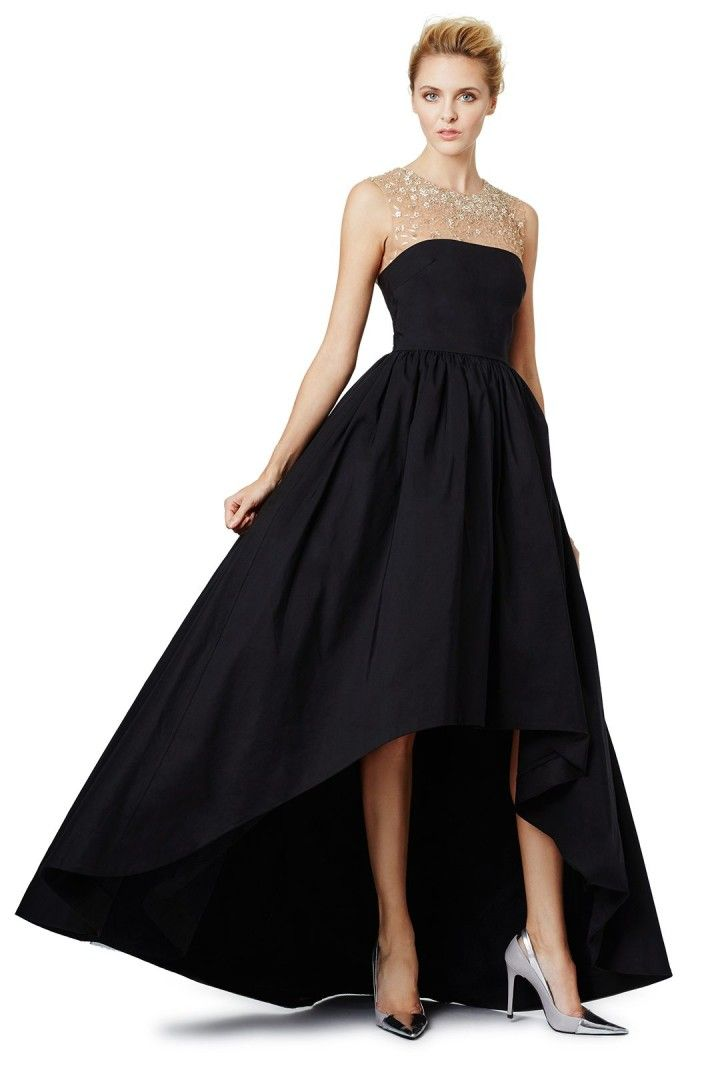 black gown for wedding guest