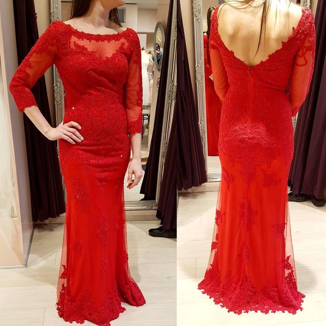 Long junior red mermaid length sleeves zipper appliques prom