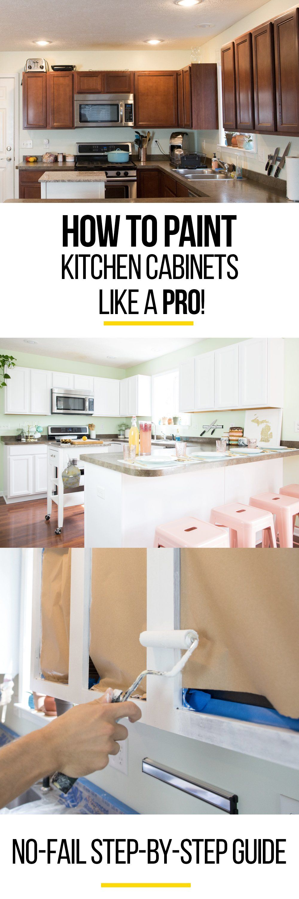 How To Paint Wood Kitchen Cabinets with White Paint | Dark brown