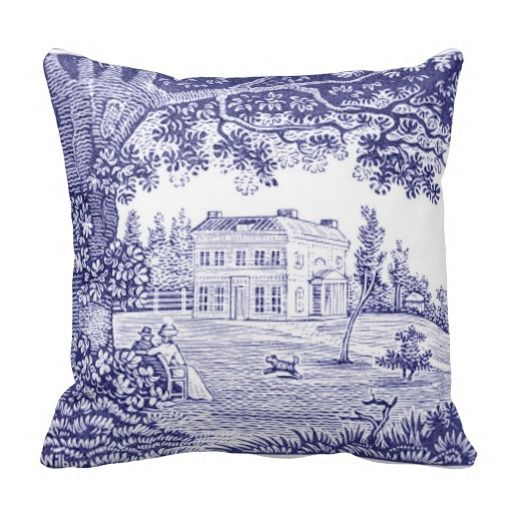 French Country Toile Pillow - Garden Scene