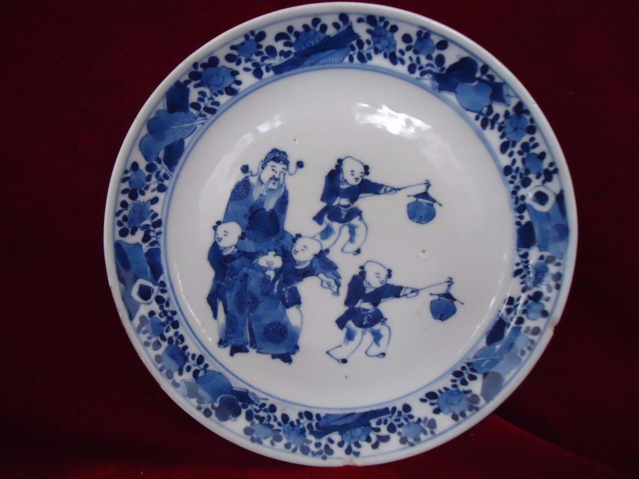 Rare Antique Chinese 18thC KangXi Blue \u0026 White Porcelain Plate   eBay & Rare Antique Chinese 18thC KangXi Blue \u0026 White Porcelain Plate ...