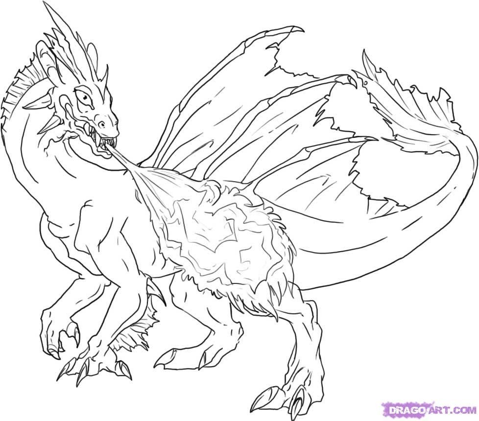 Fire Breathing Dragon Colouring Pages Monster Coloring Pages