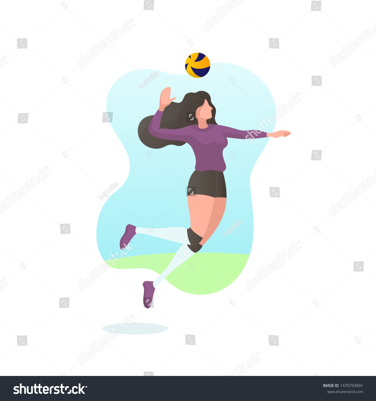Caucasian Volley Ball Woman Player In Various Pose Serve Jumping And Smash The Ball In Flat Illustration Vector F Photo Editing Stock Photos Design Template
