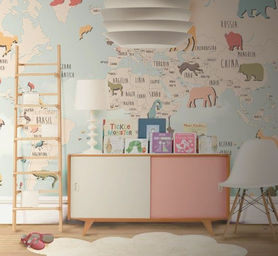 Little Hands Little Hands Wallpaper Mural World Map II - World map wallpaper for walls india