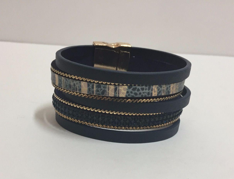Nettie Wrap Bracelet with Magnetic Clasp - Navy
