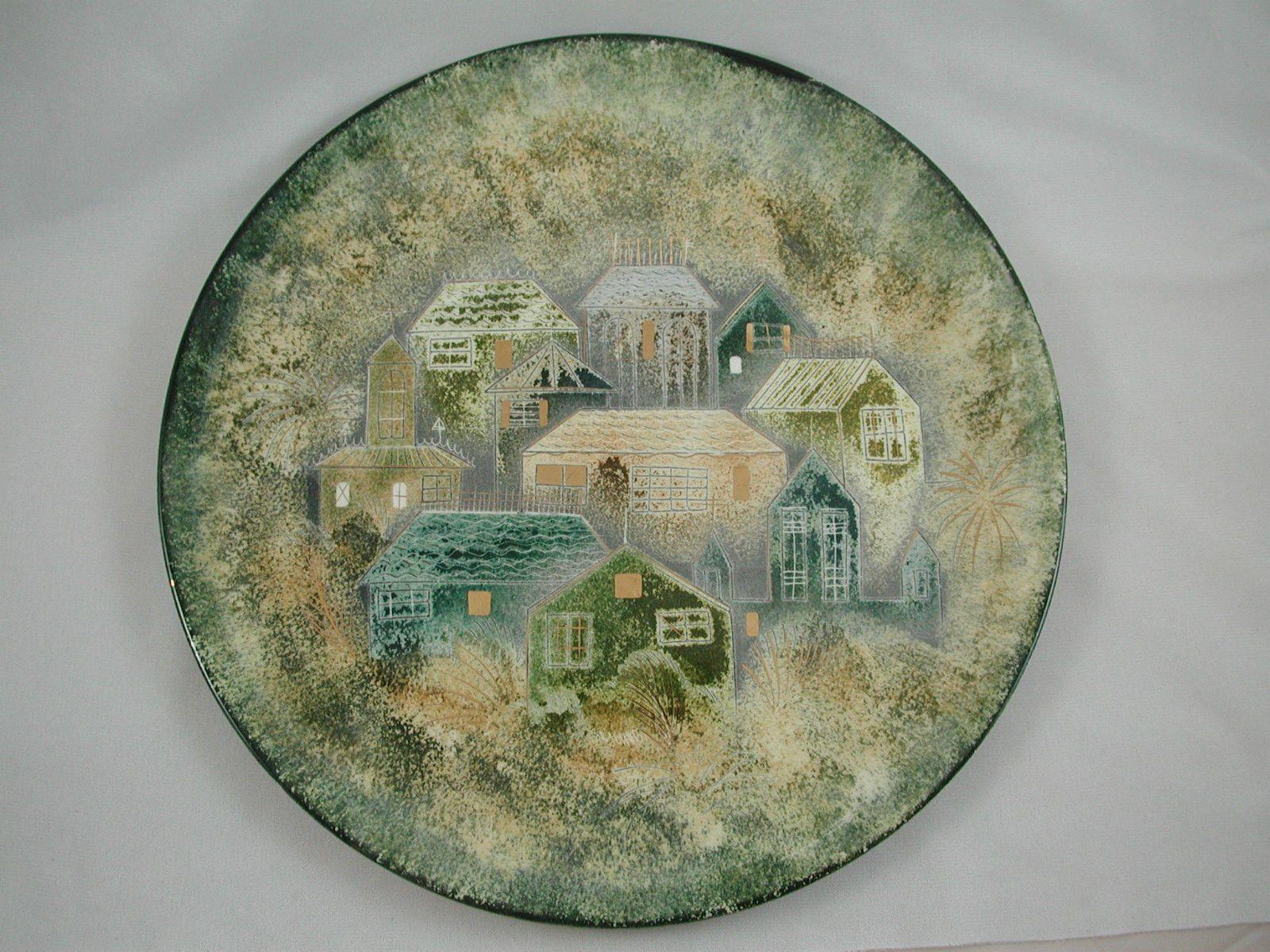 "Sascha Brastoff 14"" Plate Rooftops Houses Gold Teal Turquoise Blue Cream | eBay"