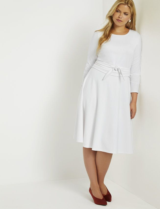 Long Sleeve Fit and Flare Dress - White in 2019   Plus size ...