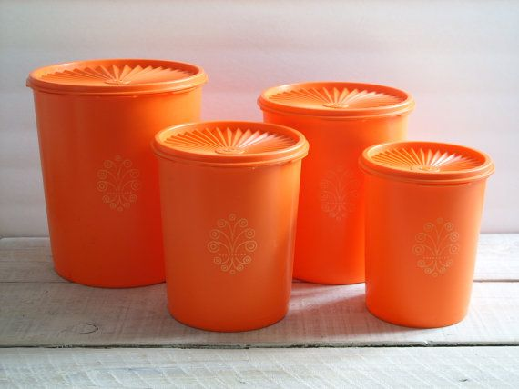 Vintage Orange Tupperware Canister Set of 4 ~ 70s Kitchen Storage ...