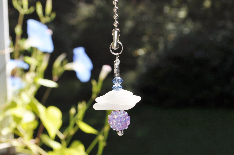 Genuine sea glass ceiling fan pull light pull suncatcher