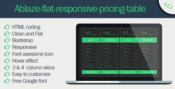 Ablaze Flat Responsive Pricing Table | CSS Pricing Tables