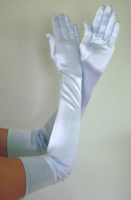 Details About Opera Long Length Stretch Satin Gloves Light
