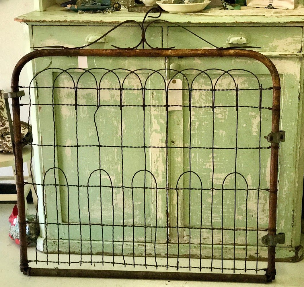 Antique Garden Gate Metal And Wire 38 Wide X 40 High 110