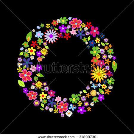 Vector Flower Font Letter O By Suto Norbert Zsolt Via Shutterstock Vector Flowers Dot Art Painting Lettering Fonts