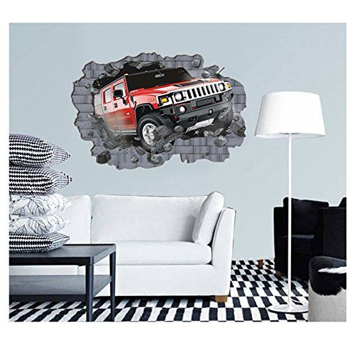Break through car wall stickers 3d home decoration amazon co uk kitchen