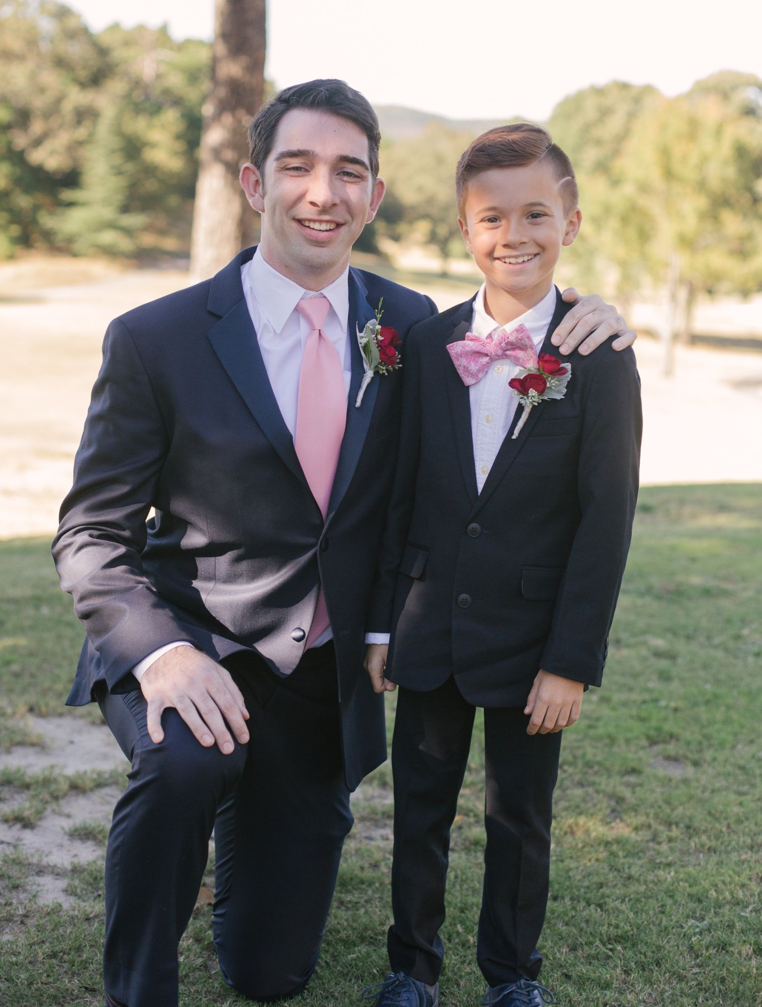 Groom and ring bearer southern wedding tiered wedding