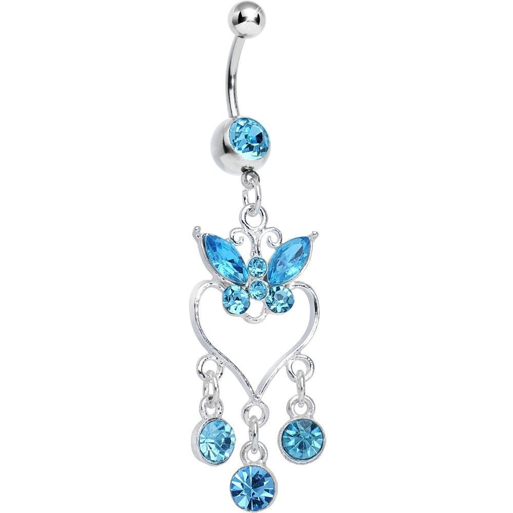 Belly piercing jewelry  Aqua Gem Butterfly Hollow Heart Gem Dangle Belly Ring  Dangle belly