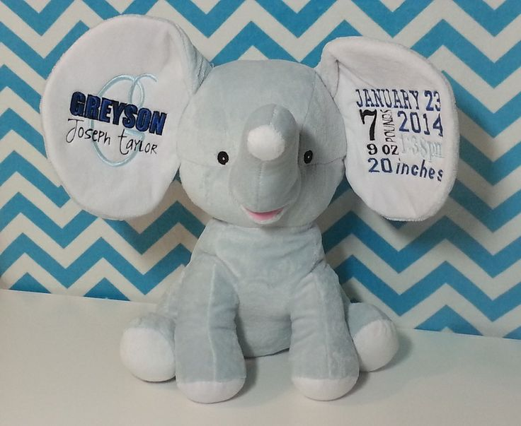 Custom embroidered stuff animals and other cool stuff favorite personalized baby cubbies embroidered elephant by hiboutchoux negle Gallery