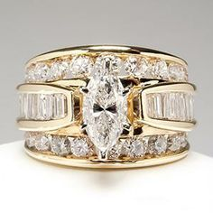 wide band diamond engagement rings marquise diamond engagement ring wide band 14k gold eragem
