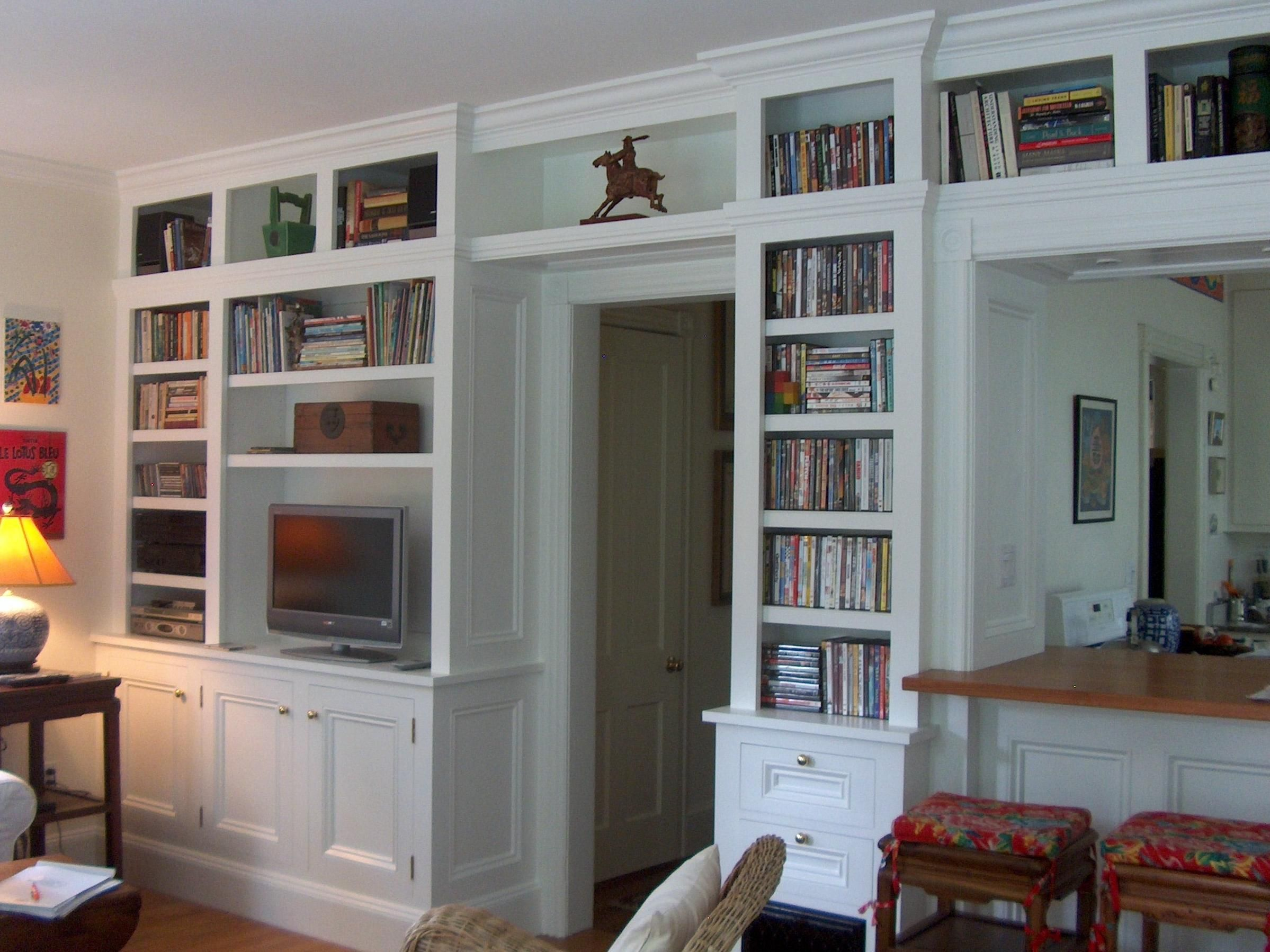 Shelving U0026 Cabinets: Built In Bookcases Ideas With The Chair Turn Around To  Turn White, Built In Bookshelves, Custom Built Ins