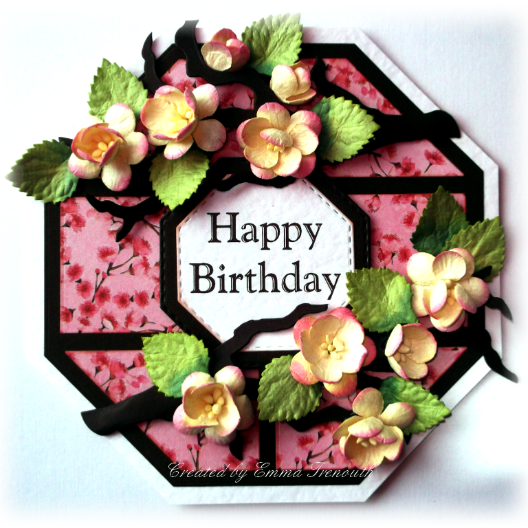 Floral Happy Birthday card, crealies patchwork dies, kasiercraft cherry blossom papers