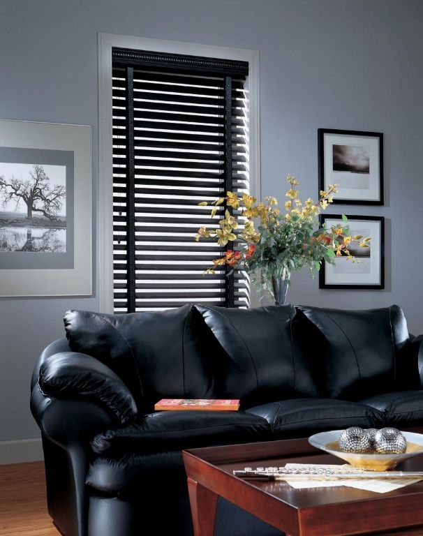 Black Wood Blinds With Cloth Tape