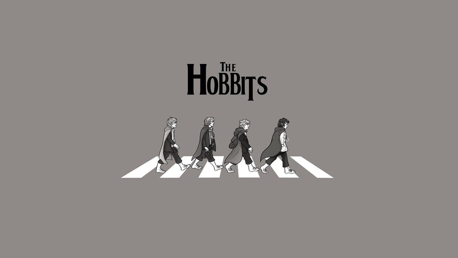 Abbey Road Humor The Lord Of The Rings Grayscale Hobbits 1600x900 Wallpaper Lord Of The Rings Lord The Hobbit