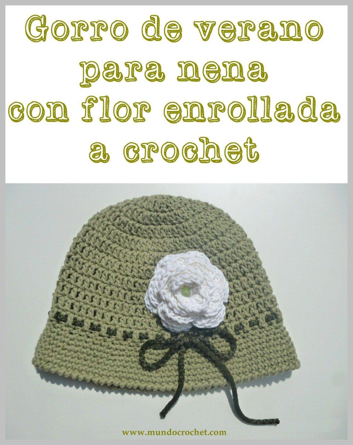 Patron gorro de verano para nena con flor enrollada a crochet o ...