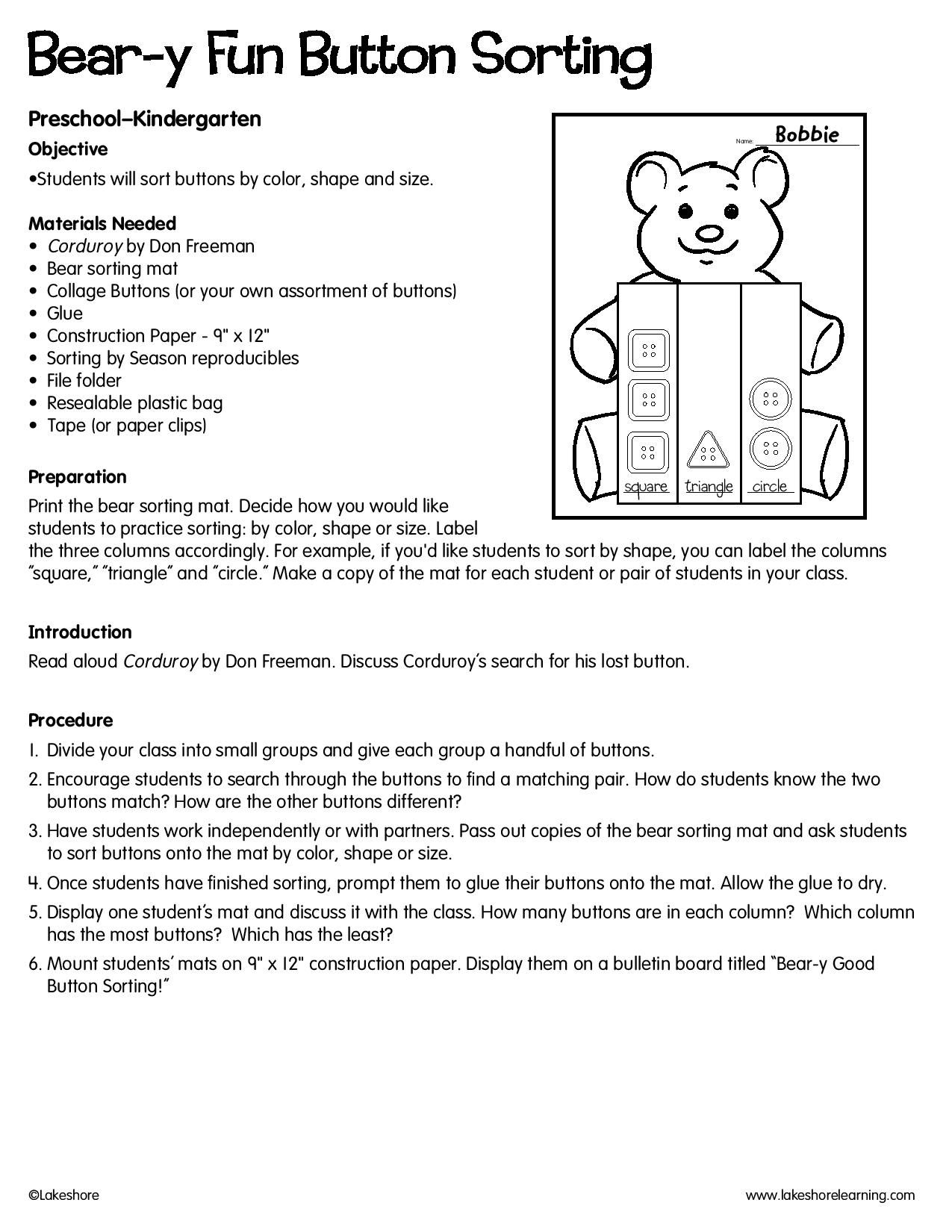 Bear Y Fun Button Sorting Lessonplan