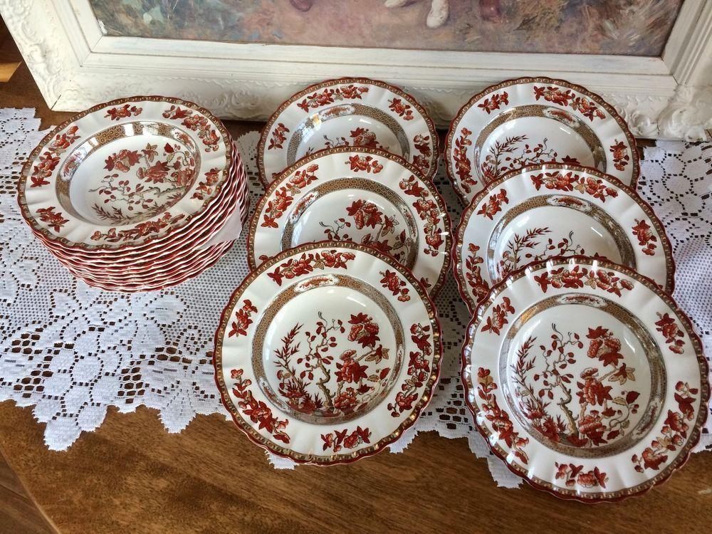Copeland Spode China Indian Tree Orange Rust Rimmed Soup Bowl S Older Mark Spode Soup Bowl Vintage Porcelain