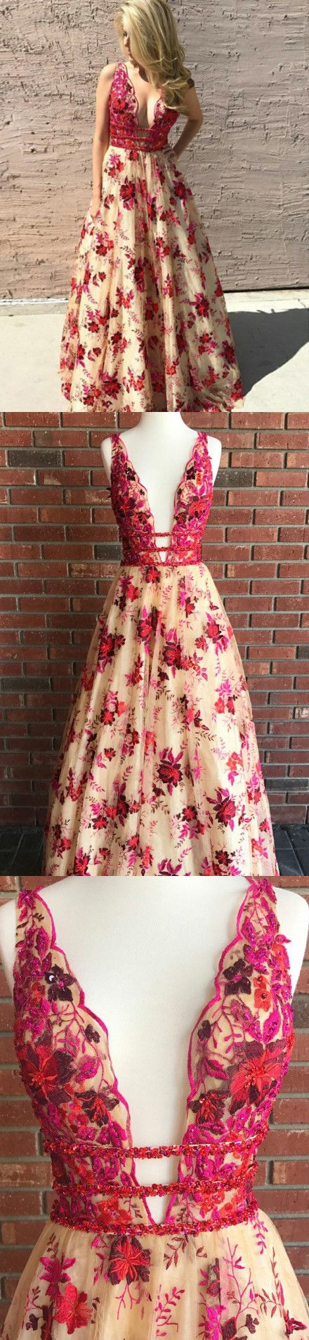 Chic red prom dress lace v neck cheap long prom dress vb in