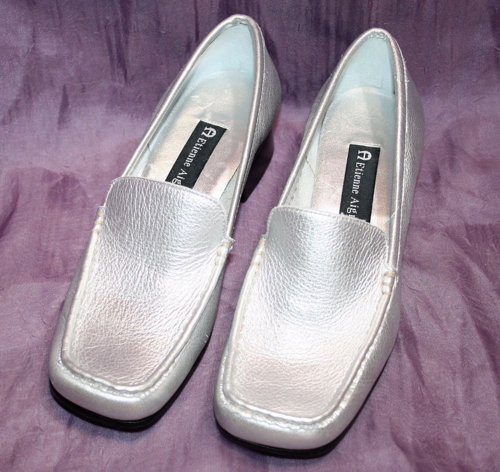 29a00ffe468 Etienne Aigner Womens QUIZ Silver Leather Loafer Slip On Dress Shoes 6.5M  Brazil  EtienneAigner  LoafersMoccasins  Casual