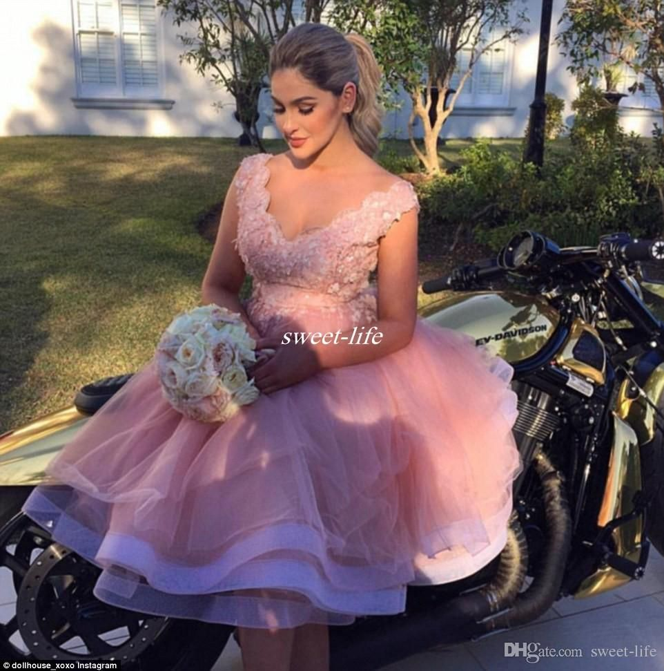 Blush pink lace tulle short beach party bridesmaid dresses 2017 blush pink lace tulle short beach party bridesmaid dresses 2017 tea length 3d floral v ombrellifo Choice Image