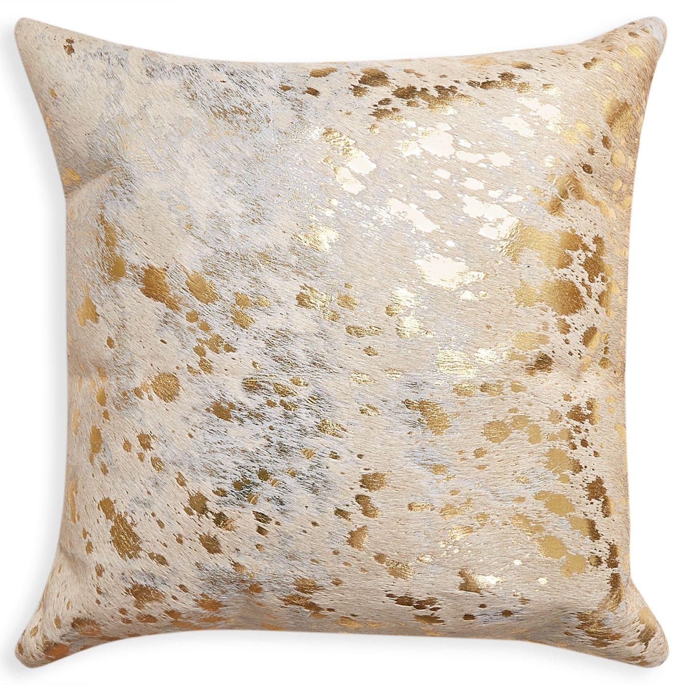 Daring Details Cowhide Metallic Throw Pillow