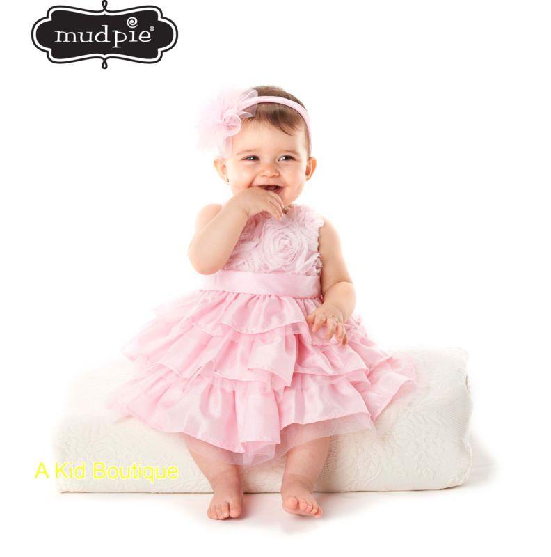 Mud Pie Baby Girls Easter Birthday Pageant Pink Rosette Tiered Silk Dress 0M 5T | eBay