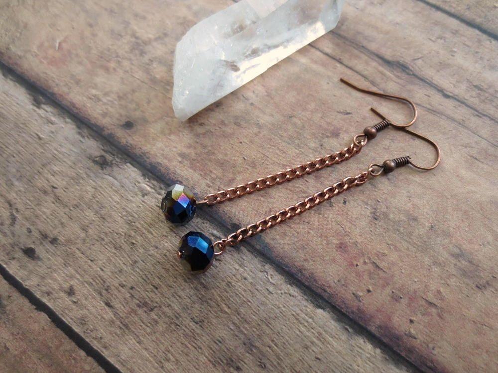 Iridescent Crystal Earrings, Gem Galaxy Earrings, Mystical Boho Earrings, Copper Chain Earrings by StarLoved on Etsy https://www.etsy.com/listing/285443021/iridescent-crystal-earrings-gem-galaxy