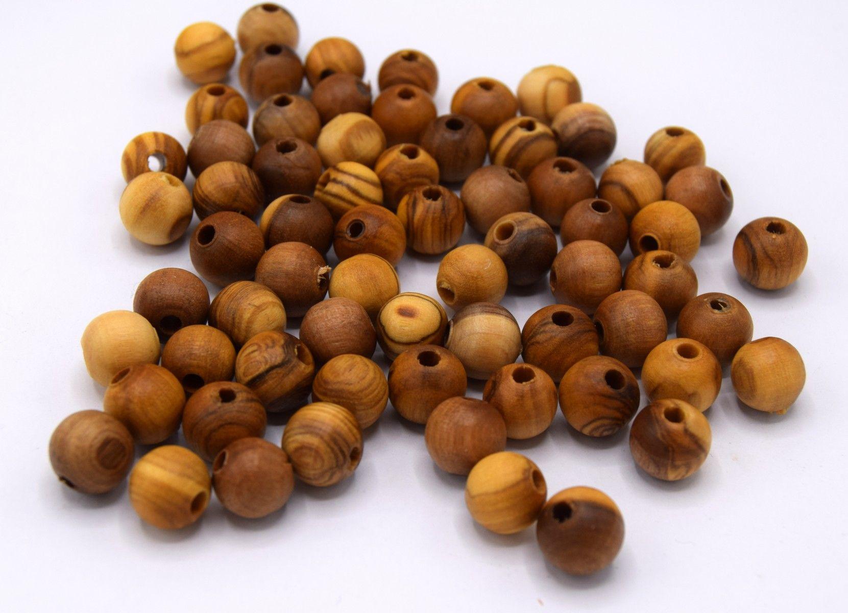 100 Perles ronde en bois orange 8mm