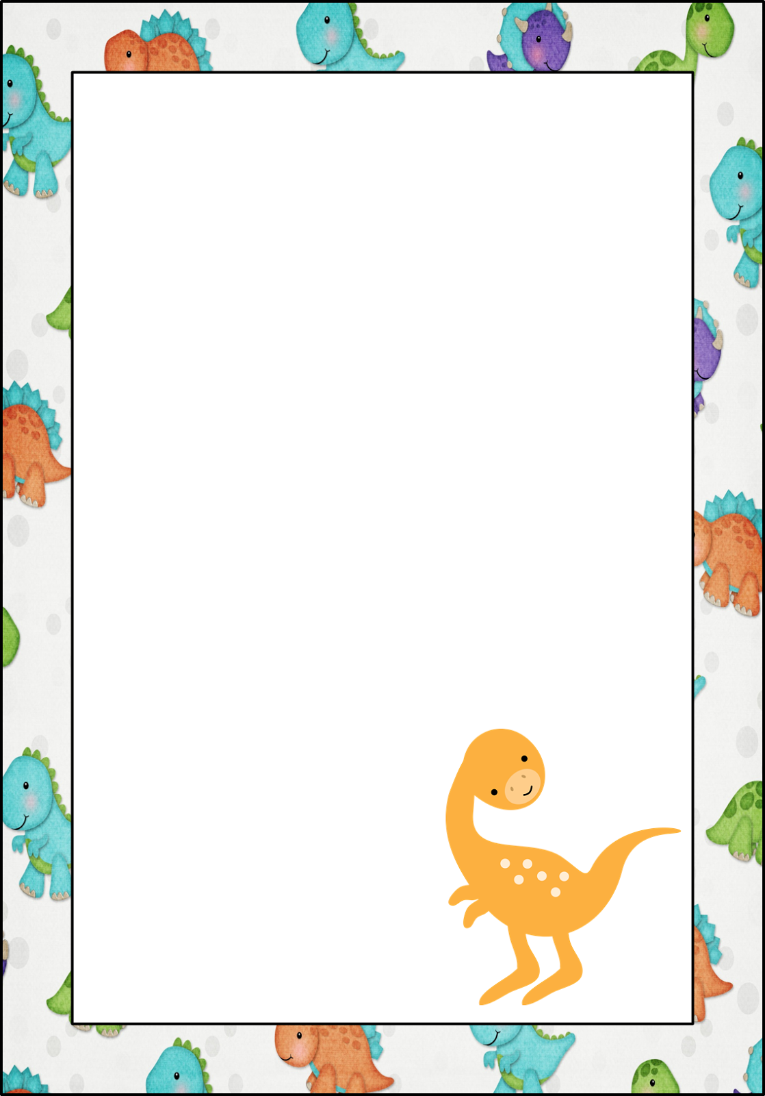photo about Free Printable Dinosaur Baby Shower Invitations named Dinosaur: Cost-free Printable Frames, Invites, Playing cards or