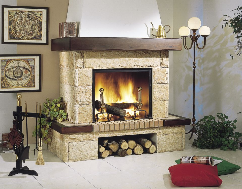 Chimenea revestimiento de piedra y madera chimeneas - Chimeneas de lena modernas ...