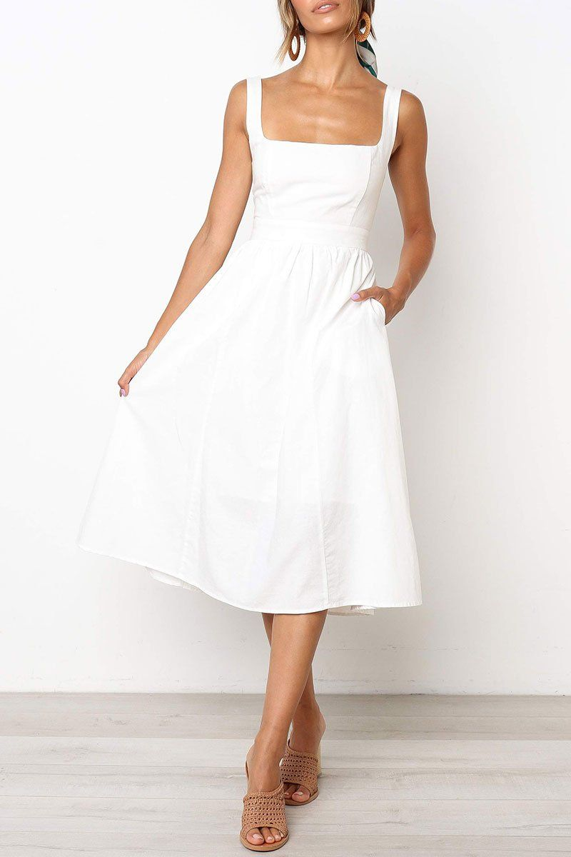 Zippper Design A Line Dress(Nonelastic) (3 colors) -   17 white dress Midi ideas