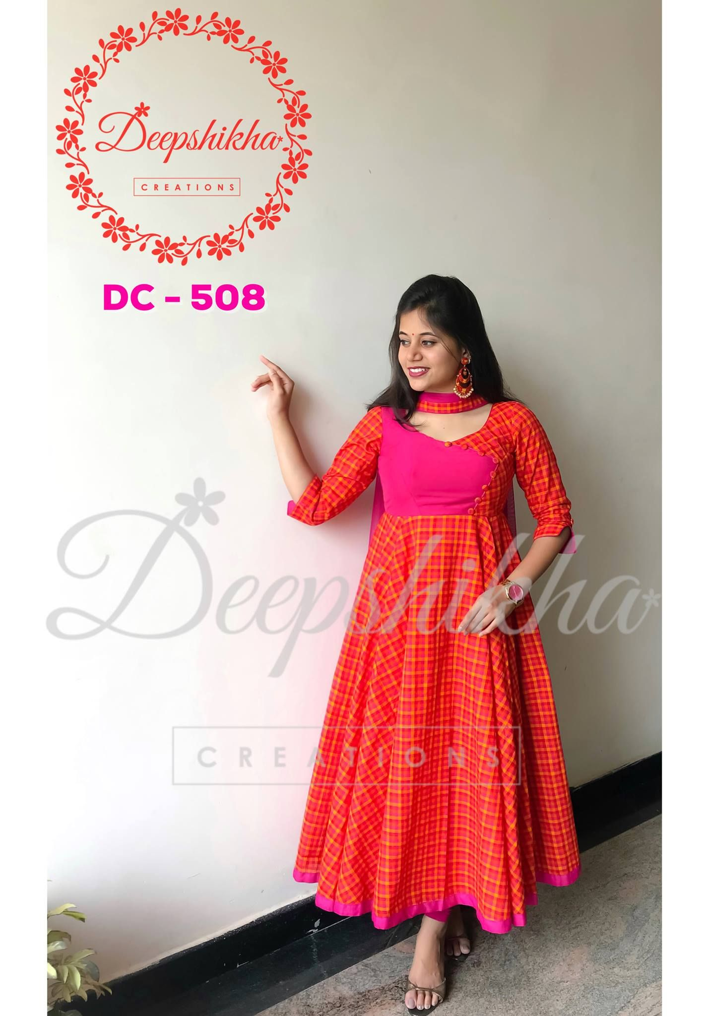 651467092f1bf0 DC - 508 . Beautiful red color plaid floor length anarkali dress with 3 4th  sleeves. For queries kindly WhatsApp  +91 9059683293