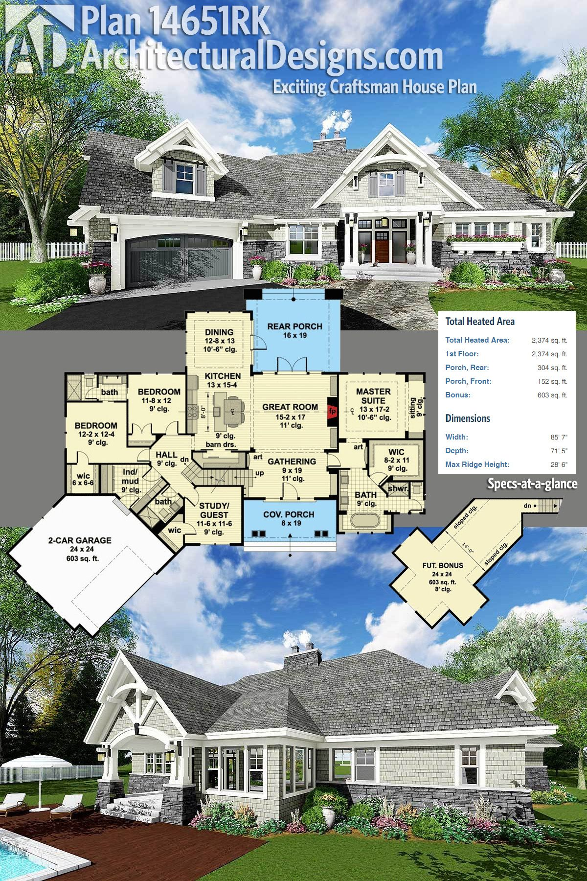 Architectural Designs Craftsman House Plan 14651RK has