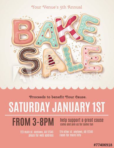 Hand drawn Bake Sale cookies on a flyer or poster template - flyer outline