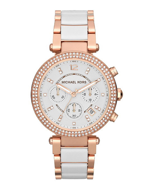 21cd1201975a Michael Kors Mid-Size Rose Golden Stainless Steel Parker Chronograph Glitz  Watch