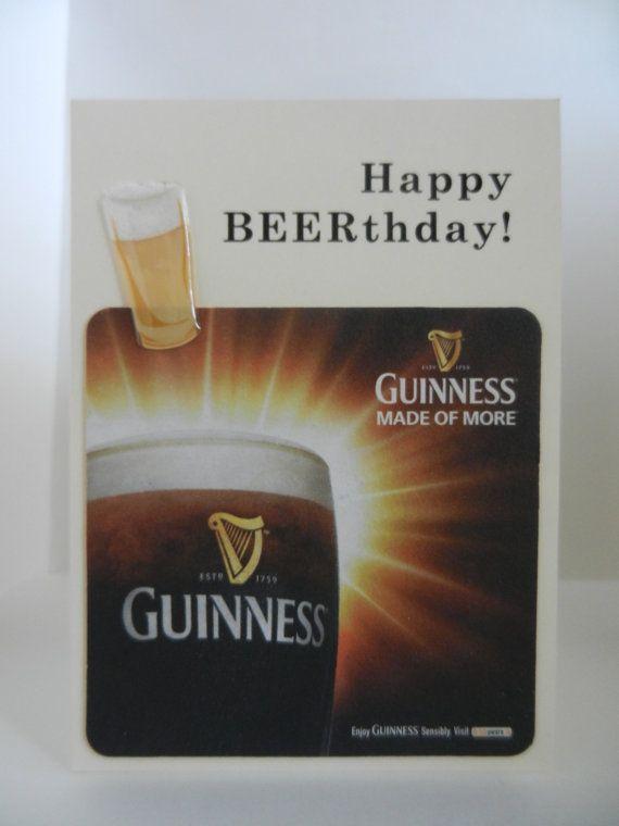 Irish Guinness Handmade Beer Greeting Card W Authentic Etsy Beer Birthday Guinness Guinness Beer
