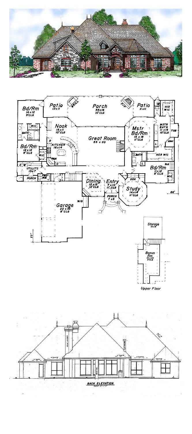 European Style House Plan 57155 With 4 Bed 4 Bath 3 Car Garage Home Design Floor Plans Best House Plans House Plans