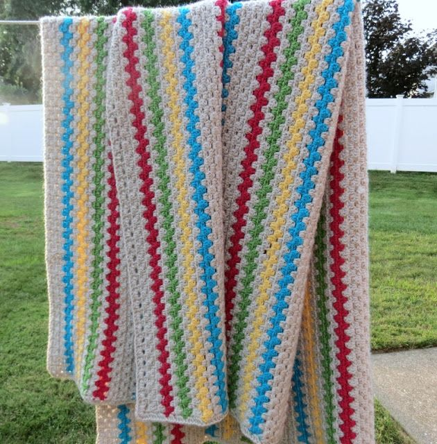 Sweet Bee Buzzings: Granny Stripe Afghan: Finito, Benito! | One Hook ...