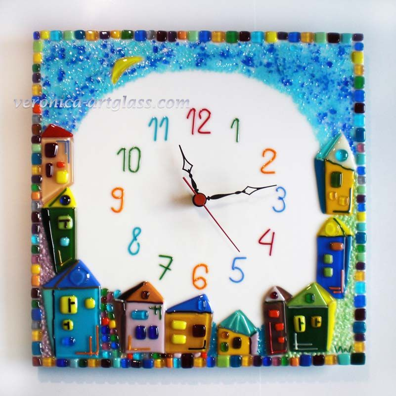 Fused glass wall clock CHILDS TOWN Fused glass fusing Glass