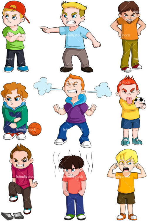 Angry Boys Cartoon Vector Clipart Friendlystock Kid Character Boy Illustration Little Boy Drawing