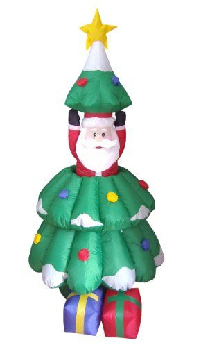 5 Foot Animated Christmas Inflatable Santa Claus Rising From Christmas Inflatable Christmas Tree Inflatable Christmas Decorations Christmas Inflatables Outdoor