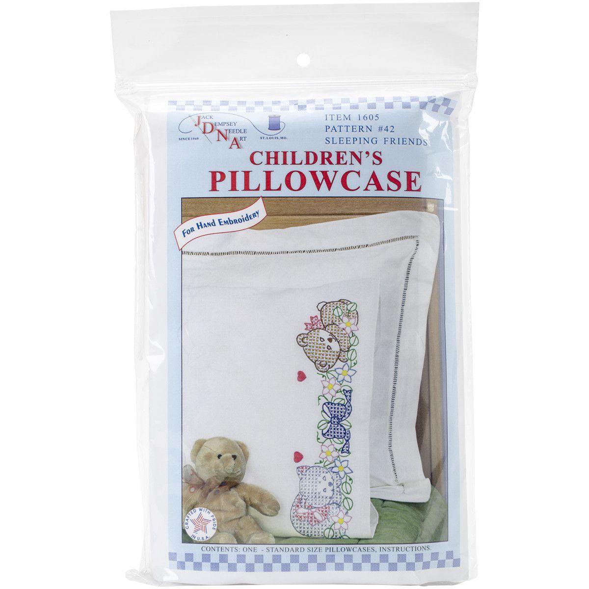 Children's Stamped Pillowcase W/White Perle Edge 1/Pkg-Sleeping Friends